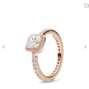 Rose Gold Pandora square sparkle ring